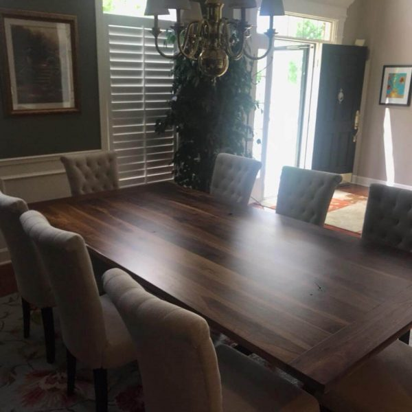 Black Walnut Hardwood Pedestal Trestle Dining Table with Cream Fabric Tufted Dining Chairs