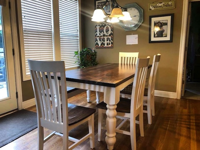 Turned leg farmhouse dining table, custom made, dark walnut hardwood table top