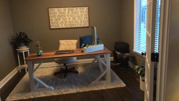Custom made hand crafted L Shaped Desk in walnut with antique white painted base, custom made by Ellis Custom Creations in Kansas City