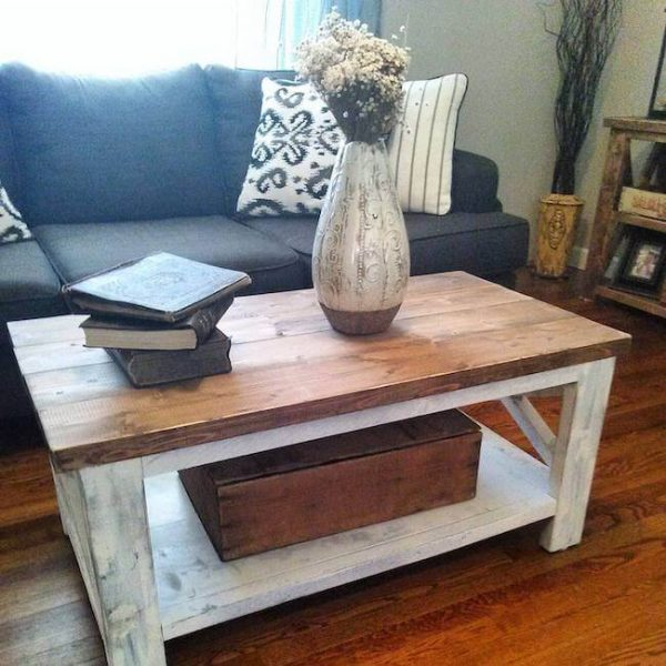 Distressed coffee table with white base and early american stained alder top