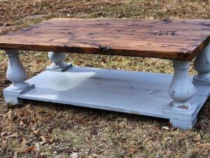 Balustrade coffee table custom made with distressed gray base and stained dark walnut top