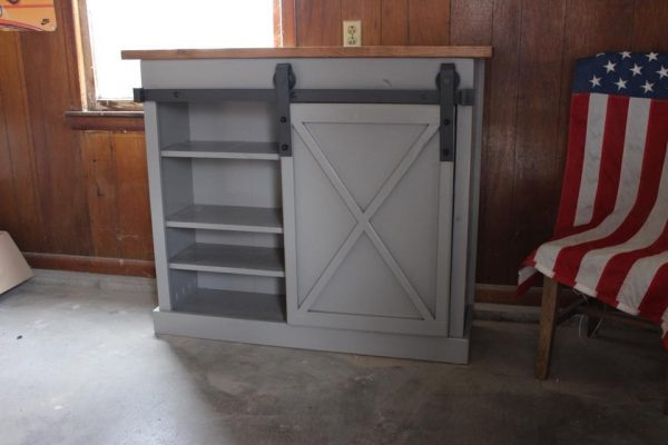 American flag X sliding barn door console with gray painted base