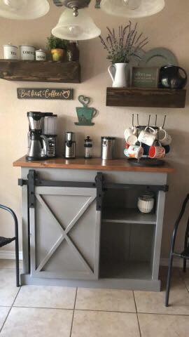 Grey sliding barn door coffee bar buffet table with coffee maker floating shelves