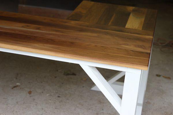 Walnut seamless desk top detailed shot