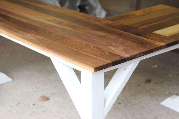 Walnut L-shaped Desk with painted white trestle base