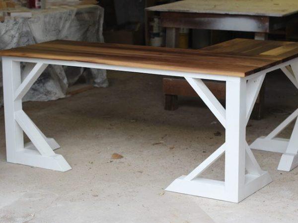 White legs and walnut top desk