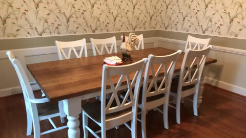Turned leg farmhouse dining table and chairs dining set in white oak