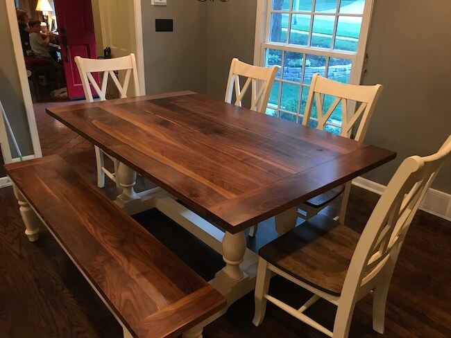 Custom made walnut and white dining table and chairs and bench