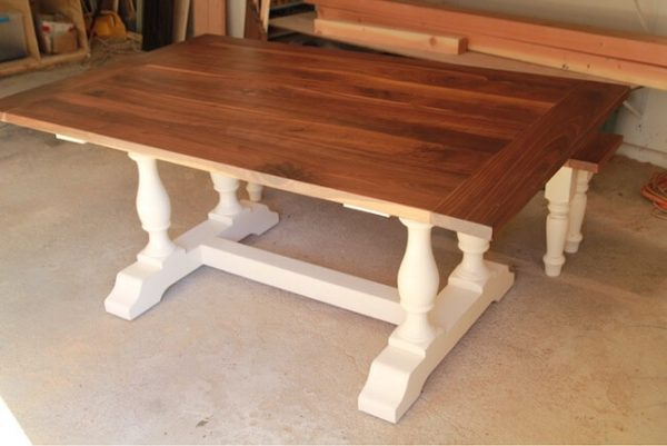 American black walnut pedestal table with breadboard ends and painted white pedestal base