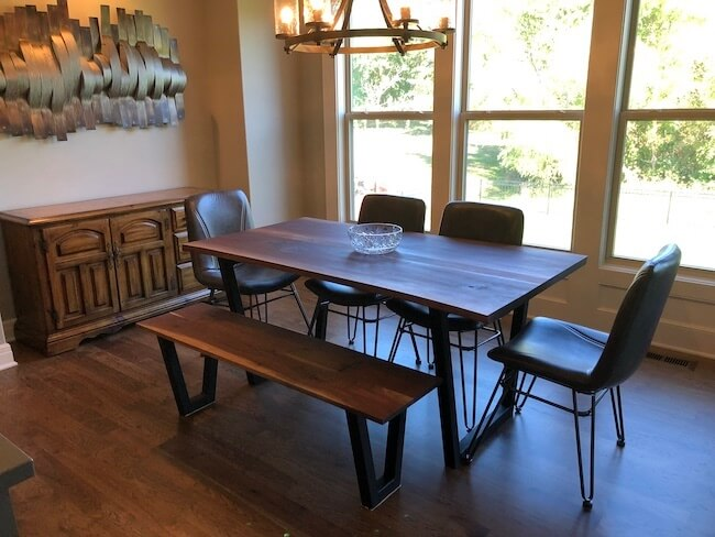 Walnut modern dining set live edge custom made