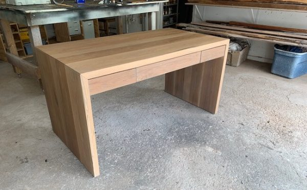 White oak executive desk waterfall with three concealed drawers