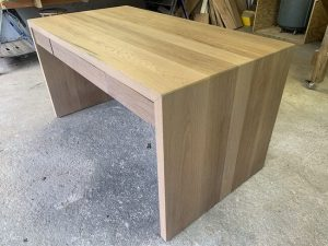 White oak waterfall edge desk