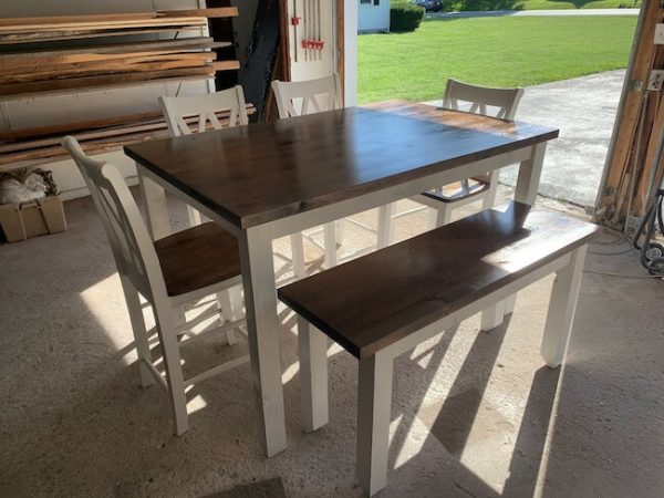 Counter height farmhouse dining table and chairs dining set, rustic alder table tops with distressed antique white chairs and base