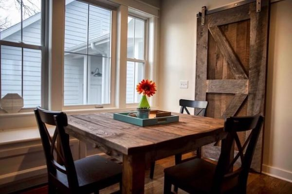 Brown kitchen nook dining set custom made farmhouse style