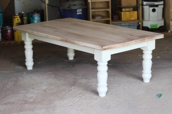 Distressed painted white turned leg coffee table