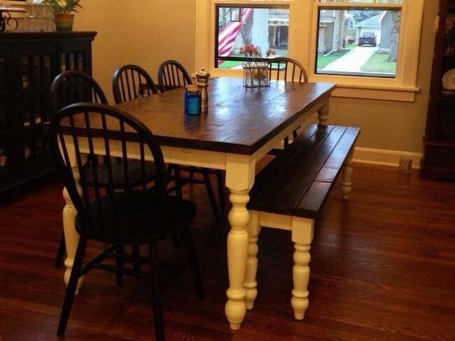 Brookside missouri farmhouse table and bench with 4 black chairs