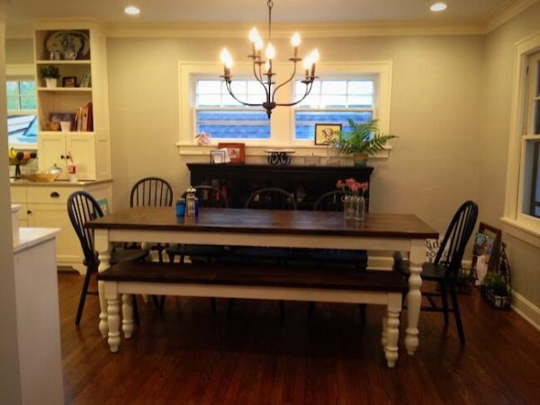Farmhouse dining set with chandelier above