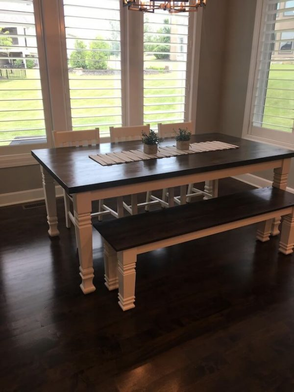 Farmhouse table and bench in kitchen