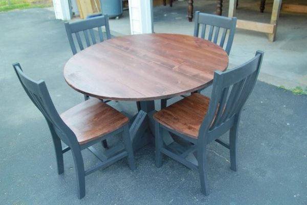 Red Mahogany and black round table and chairs dining set custom made