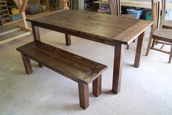 Dark walnut stained straight leg table and bench with breadboard ends on table top, farmhouse style custom made