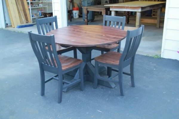 Custom made mahogany and black round table pedestal dining set with 4 chairs