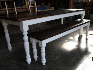 Skinny turned leg farmhouse dining table and bench in brown and white base