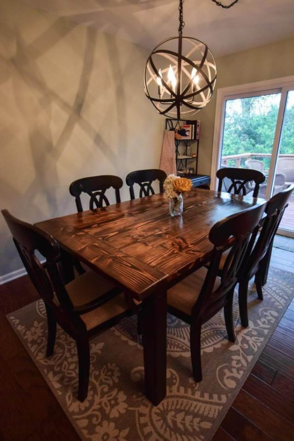 World Market chandelier Dark walnut stained dining set with 6 chairs, painted black base