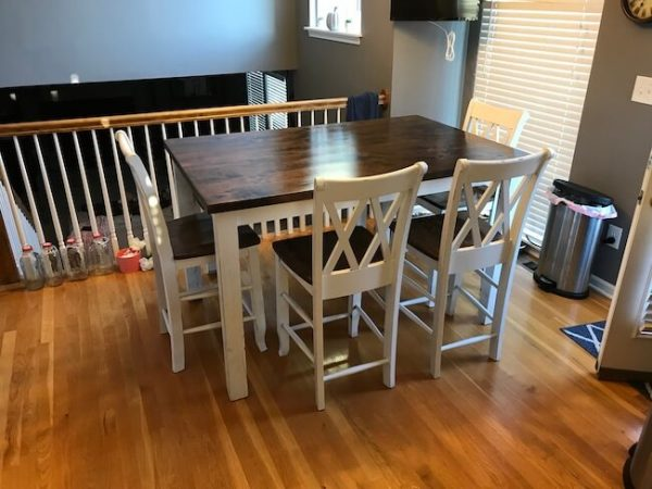 Counter height table with 4 chairs and bench in a kitchen nook, custom made from rustic alder and douglas fir wood