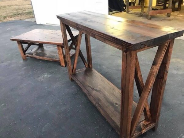 Custom made console table and rustic X coffee table with one open shelf
