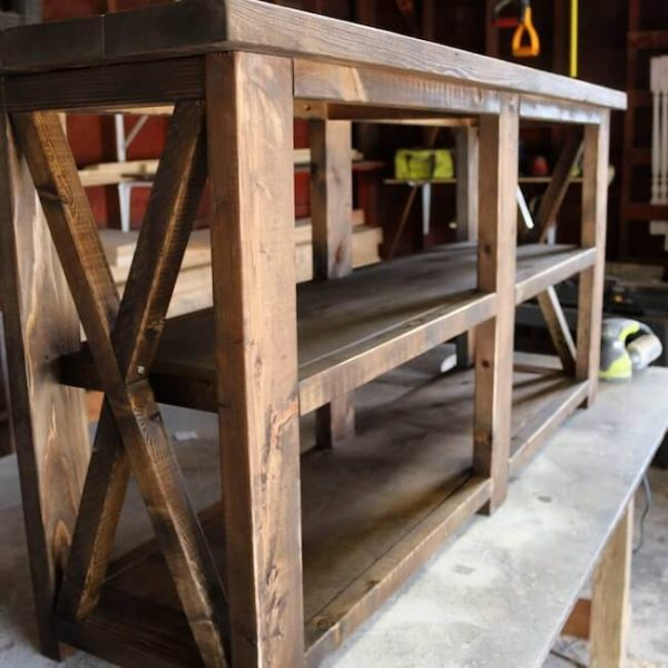Custom made rustic X console table in Early American stain