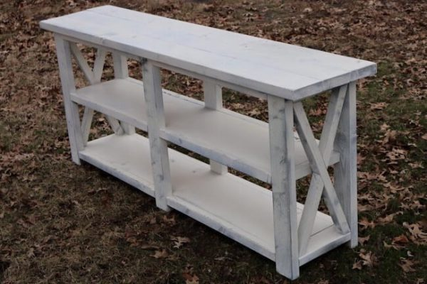 White rustic X console table