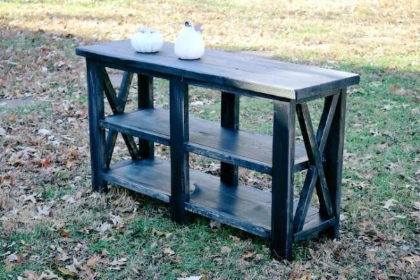 Black painted rustic x console table with rustic fall decorations