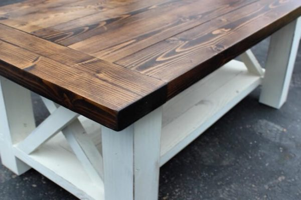 Coffee table top detailed finished dark walnut stain