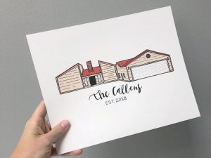 Modern style drawing of a home on a personalized sign for a family