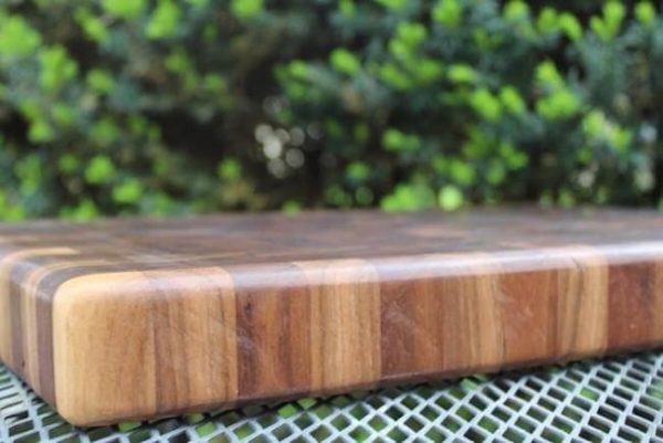 Detailed shot of walnut end grain cutting board