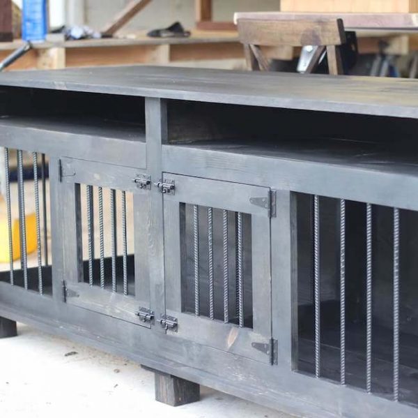 Ebony stained dog kennel with two doors and open shelves