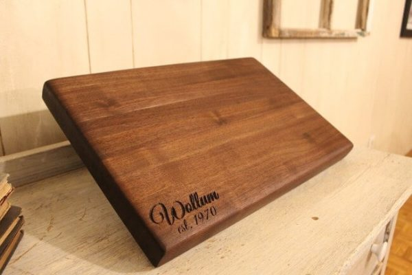 Walnut edge grain butcher block cutting board with customized last name