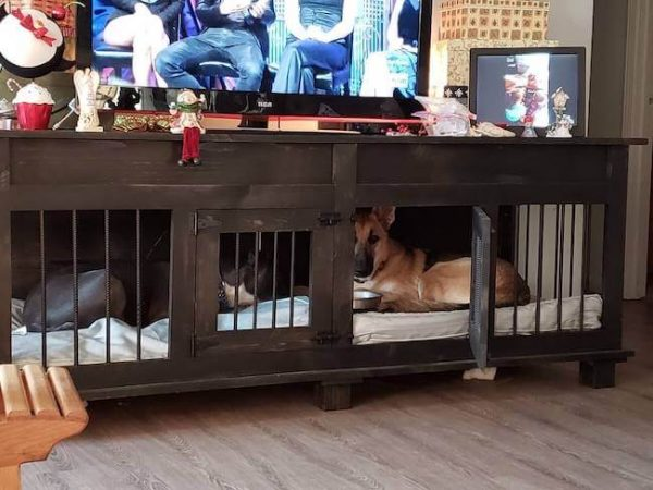 Brown dog kennel with two doors and german shepherd dog resting inside