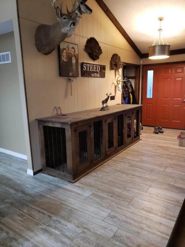 Triple dog kennel with spots for 3 dogs, custom made and stained in a dark walnut stain