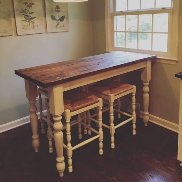Kitchen nook turned leg farm table with 4 barstools, dark walnut stain and antique white painted base