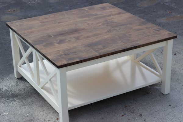 Custom made double x coffee table in white and brown