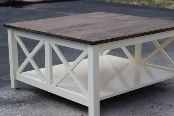 Painted white base with dark walnut top on double x design coffee table custom made