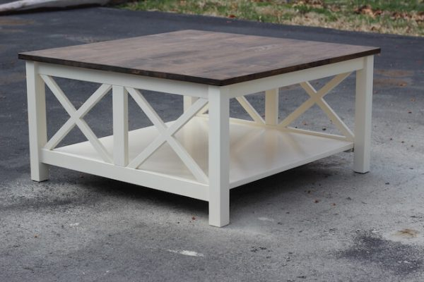 Stained walnut top and white base double x coffee table