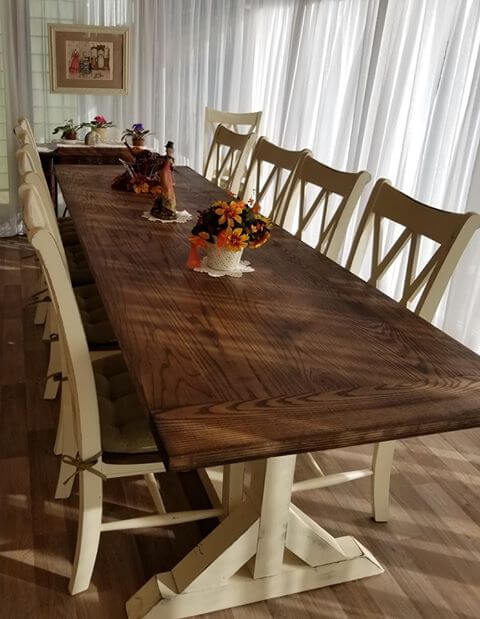 White oak trestle dining table set custom made