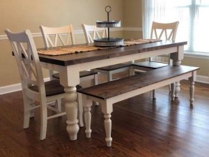 Rustic alder turned leg dining set with table runner, complete with 4 chairs and matching bench, dark walnut stain and antique white painted base