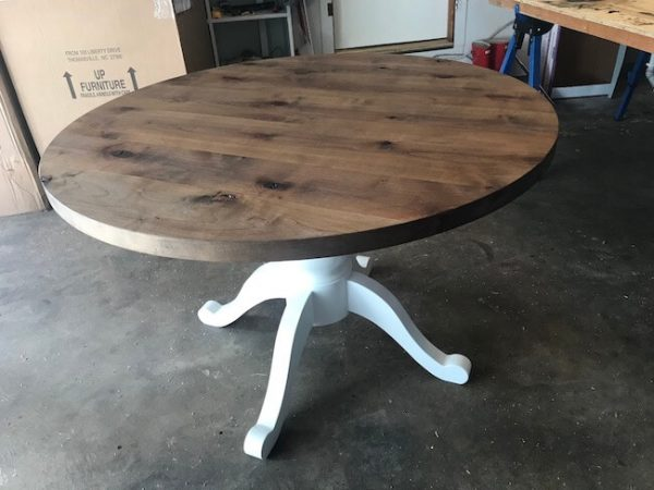 Custom made rustic alder and painted white pedestal round dining table kitchen table