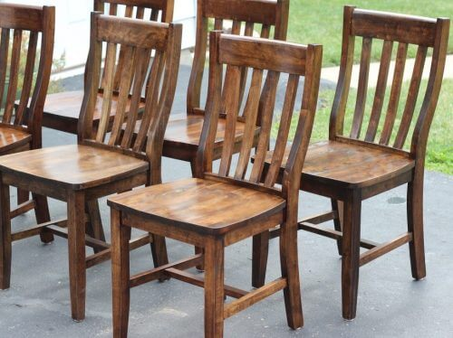 Dark walnut stained farmhouse dining chairs