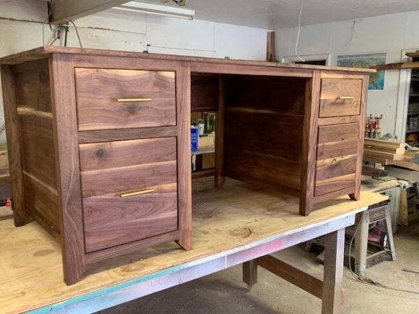 Walnut desk with 4 drawers and antique brass hardware
