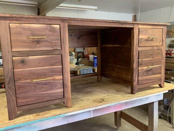 Brown walnut desk