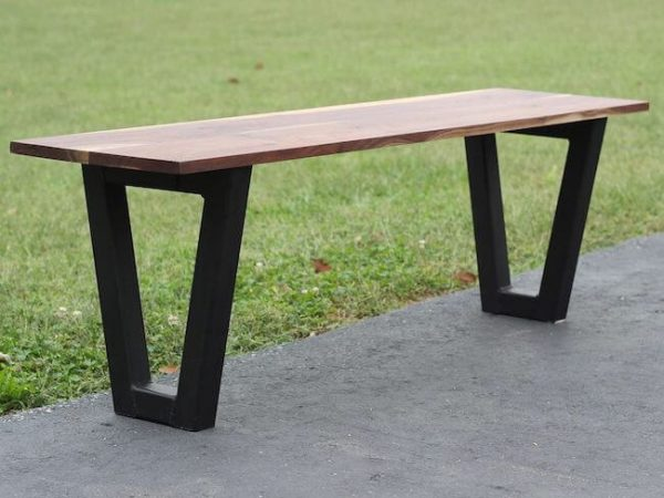 Walnut bench with steel tube legs painted black